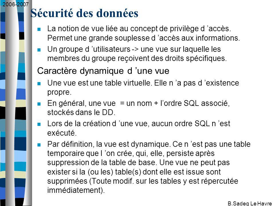 2006-2007 B.Sadeg Le Havre Création d une vue CREATE VIEW nom_vue [ (liste_de_colonnes) ] AS table_expression [WITH {CASCADE   LOCAL   CHECK OPTION}]; où table_expression est la requête SQL associée (SELECT qui peut comporter UNION, INTERSECT, …) sauf ORDER BY.