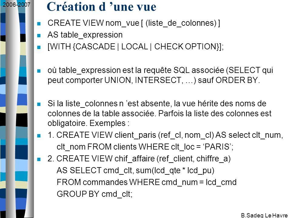 2006-2007 B.Sadeg Le Havre Suppression d une vue DROP VIEW nom_vue [RESTRICT   CASCADE] où RESTRICT : si cette vue intervient dans la définition d une autre vue, la commande est rejetée.