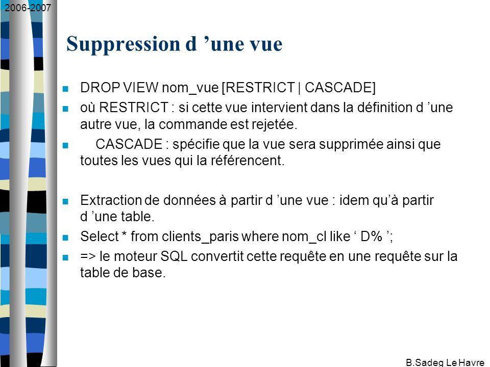 2006-2007 B.Sadeg Le Havre Beaucoup de vues ne sont pas modifiables : présence d une fonction de groupe et d une group by : create view nb_ventes as select count(*) from commandes; présence de la clause DISTINCT create view i_c as select distinct article_fourn, art_coul from articles; présence d une fonction arithmétique : create view articles_fb (num, prix_fb) as select art_num, art_pv/0.154 from articles; select * from articles_fb; Modification d une vue