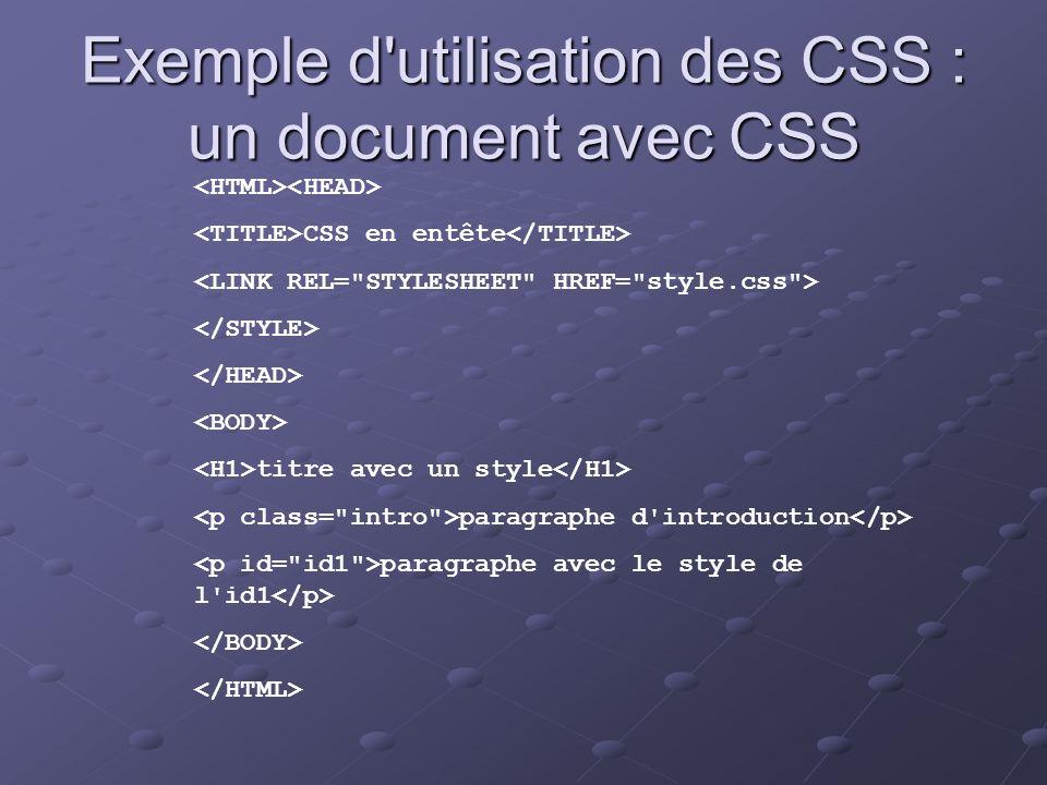 Exemple d'utilisation des CSS : un document avec CSS CSS en entête titre avec un style paragraphe d'introduction paragraphe avec le style de l'id1