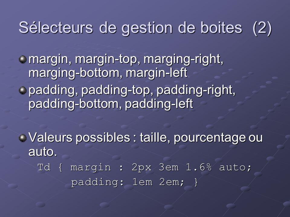 Sélecteurs de gestion de boites (2) margin, margin-top, marging-right, marging-bottom, margin-left padding, padding-top, padding-right, padding-bottom