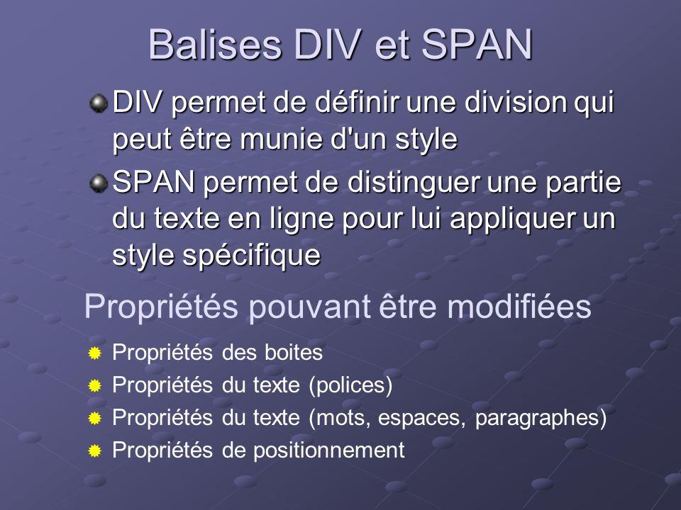 Balises DIV et SPAN DIV permet de définir une division qui peut être munie d'un style SPAN permet de distinguer une partie du texte en ligne pour lui