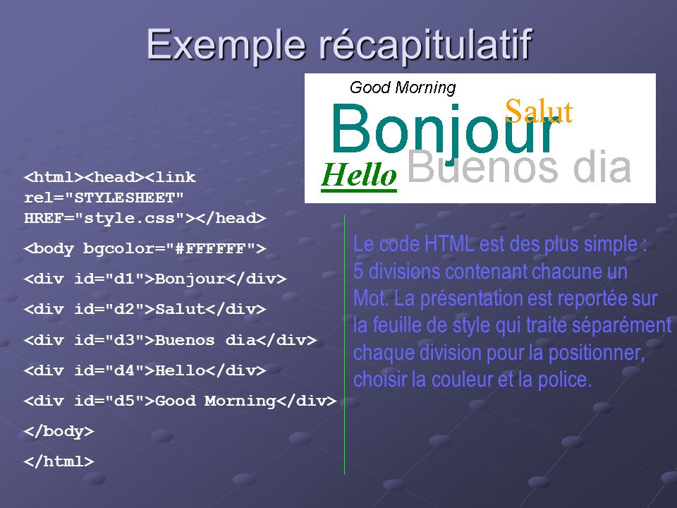 Exemple récapitulatif Bonjour Salut Buenos dia Hello Good Morning Le code HTML est des plus simple : 5 divisions contenant chacune un Mot. La présenta