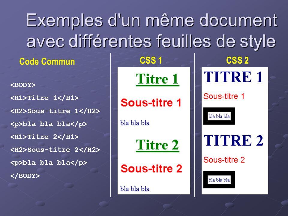 Exemples d'un même document avec différentes feuilles de style Titre 1 Sous-titre 1 bla bla bla Titre 2 Sous-titre 2 bla bla bla Code Commun CSS 1CSS