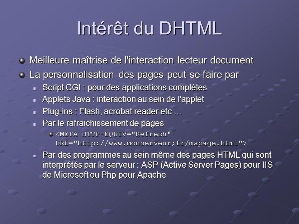 Intérêt du DHTML Meilleure maîtrise de l'interaction lecteur document La personnalisation des pages peut se faire par Script CGI : pour des applicatio