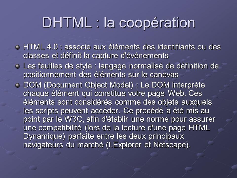 DHTML : la coopération HTML 4.0 : associe aux éléments des identifiants ou des classes et définit la capture d'événements Les feuilles de style : lang