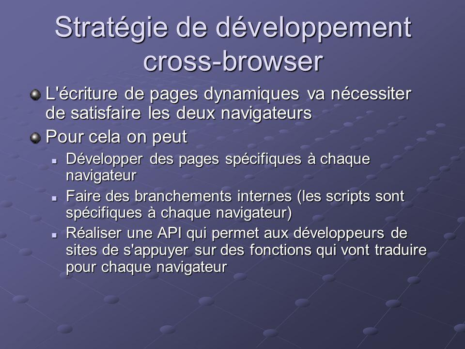 Stratégie de développement cross-browser L'écriture de pages dynamiques va nécessiter de satisfaire les deux navigateurs Pour cela on peut Développer