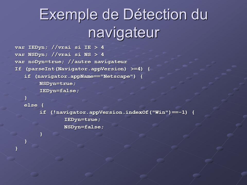 Exemple de Détection du navigateur var IEDyn; //vrai si IE > 4 var NSDyn; //vrai si NS > 4 var noDyn=true; //autre navigateur If (parseInt(Navigator.a