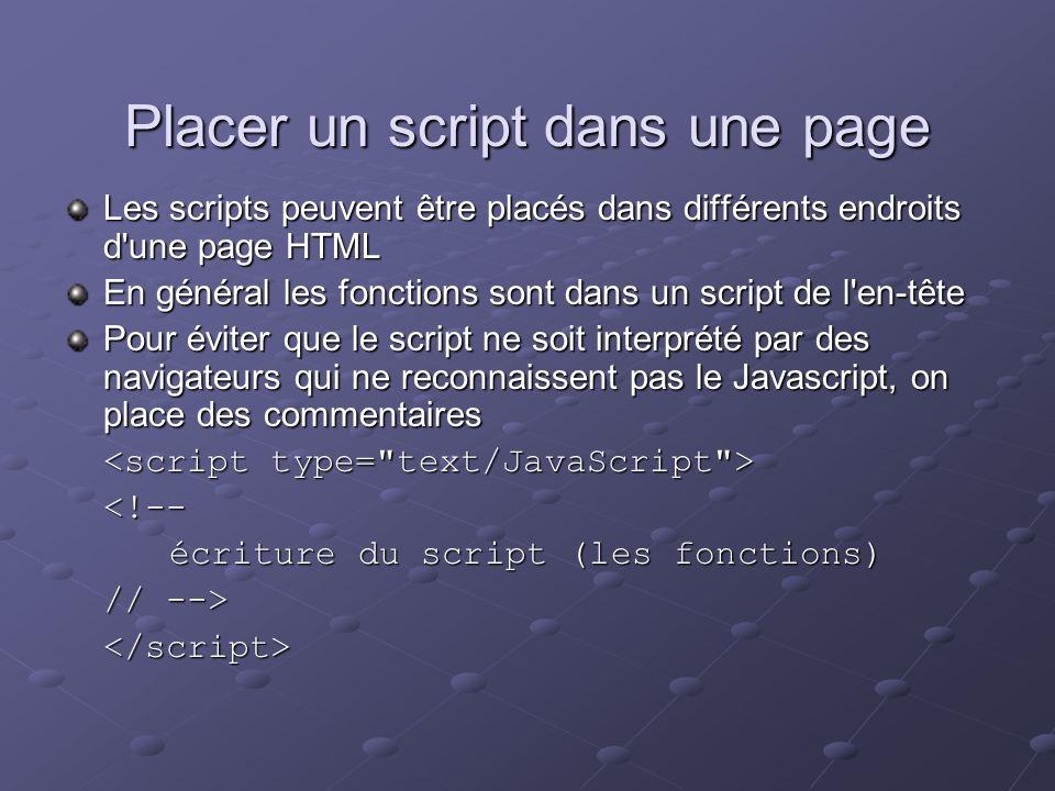 Placer un script dans une page Les scripts peuvent être placés dans différents endroits d'une page HTML En général les fonctions sont dans un script d