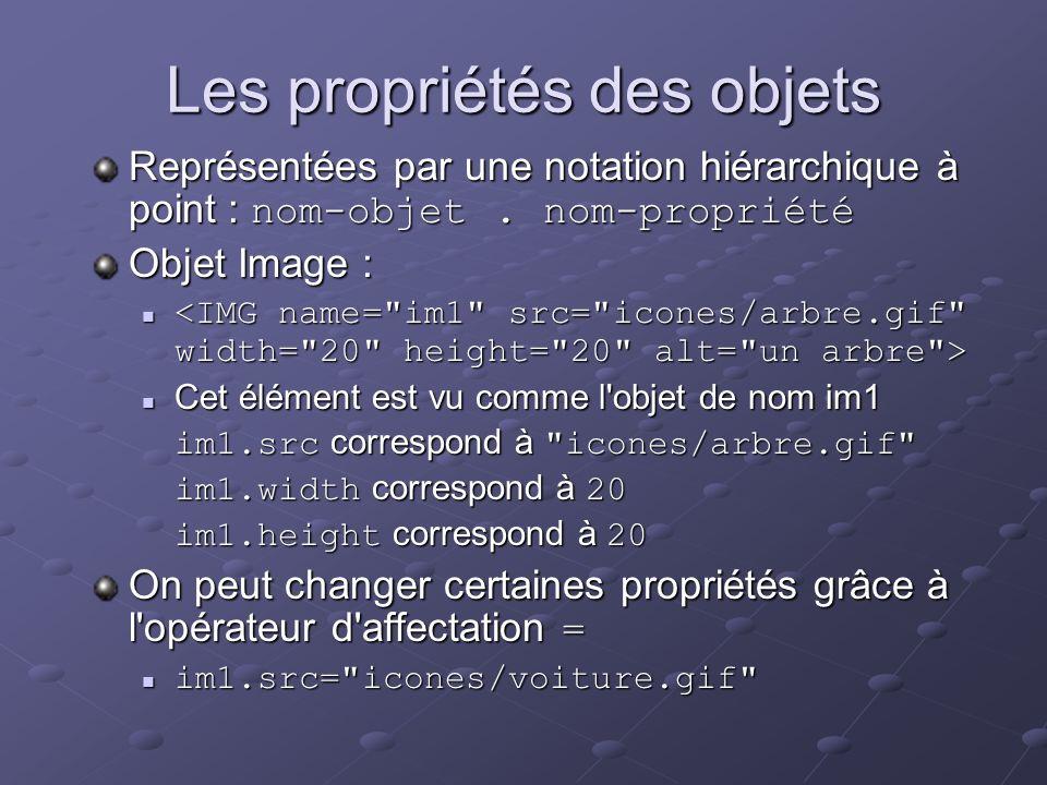 Les propriétés des objets Représentées par une notation hiérarchique à point : nom-objet. nom-propriété Objet Image : Cet élément est vu comme l'objet