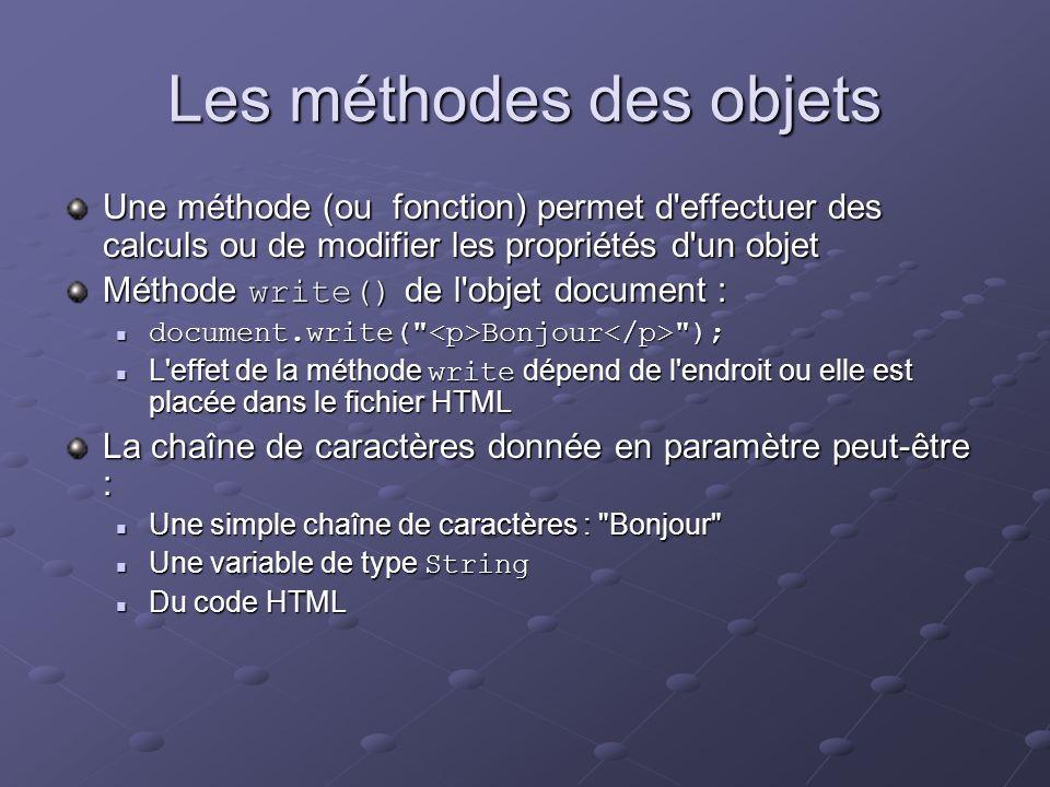 Les méthodes des objets Une méthode (ou fonction) permet d'effectuer des calculs ou de modifier les propriétés d'un objet Méthode write() de l'objet d