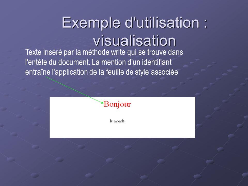 Exemple d'utilisation : visualisation Texte inséré par la méthode write qui se trouve dans l'entête du document. La mention d'un identifiant entraîne