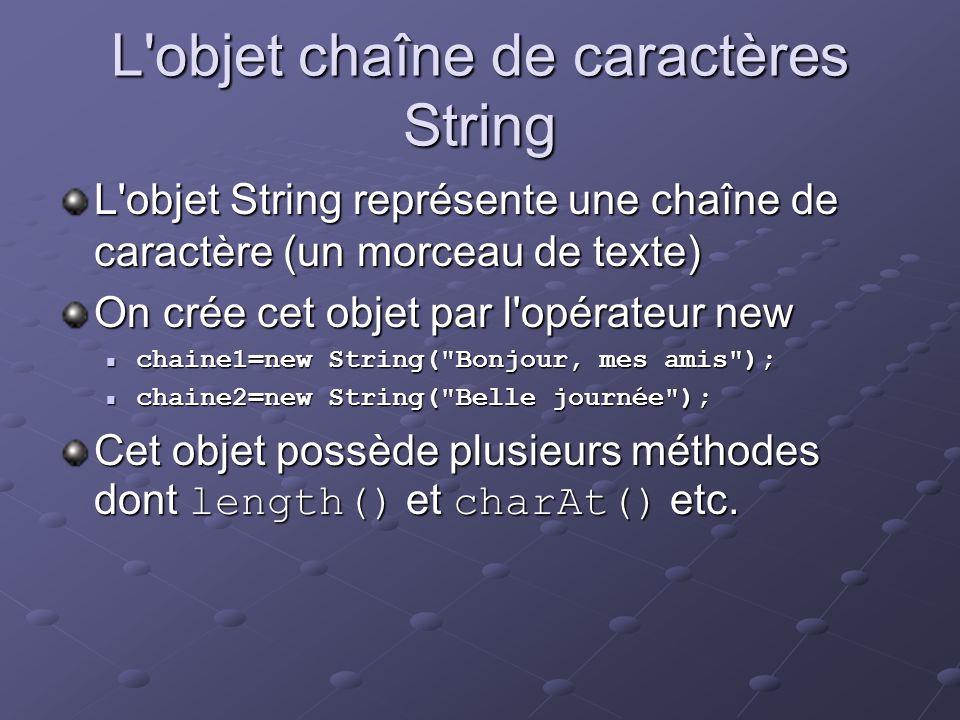 L'objet chaîne de caractères String L'objet String représente une chaîne de caractère (un morceau de texte) On crée cet objet par l'opérateur new chai