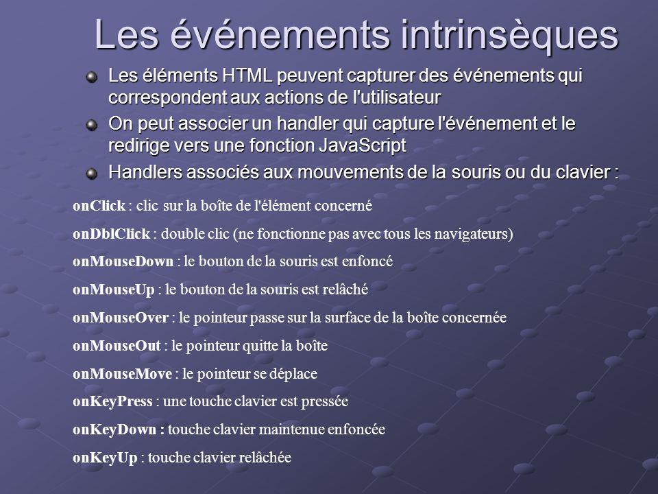 Les événements intrinsèques Les éléments HTML peuvent capturer des événements qui correspondent aux actions de l'utilisateur On peut associer un handl
