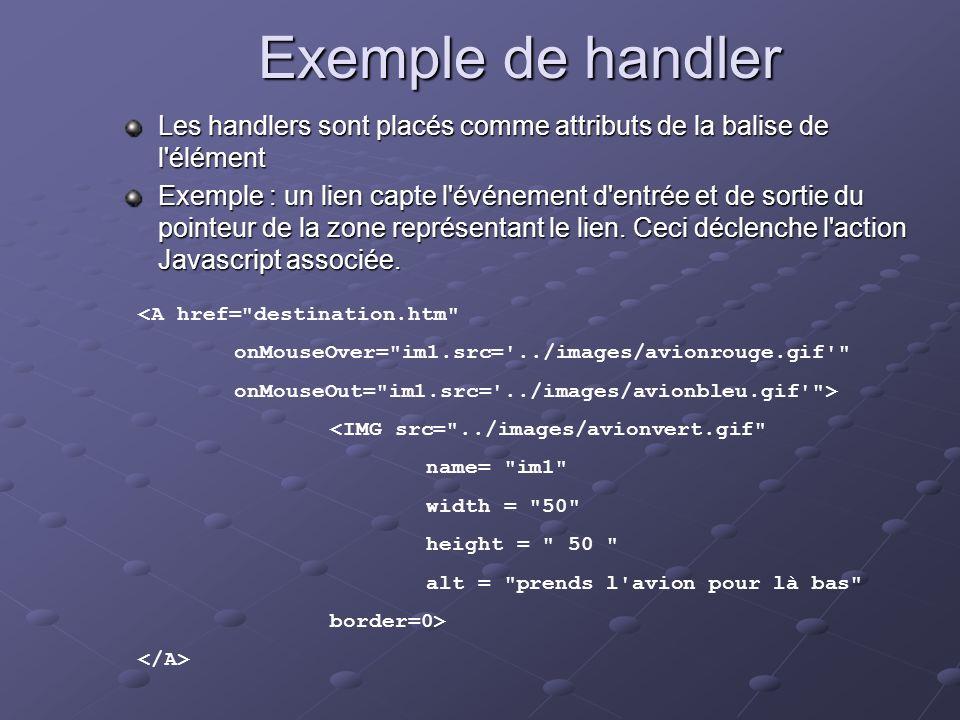 Exemple de handler Les handlers sont placés comme attributs de la balise de l'élément Exemple : un lien capte l'événement d'entrée et de sortie du poi
