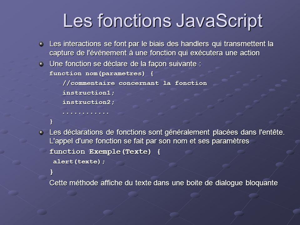 Les fonctions JavaScript Les interactions se font par le biais des handlers qui transmettent la capture de l'événement à une fonction qui exécutera un
