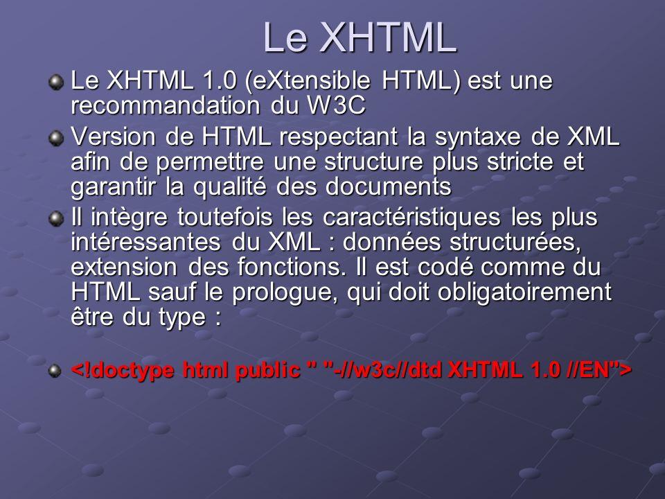 Le XHTML Le XHTML 1.0 (eXtensible HTML) est une recommandation du W3C Version de HTML respectant la syntaxe de XML afin de permettre une structure plu