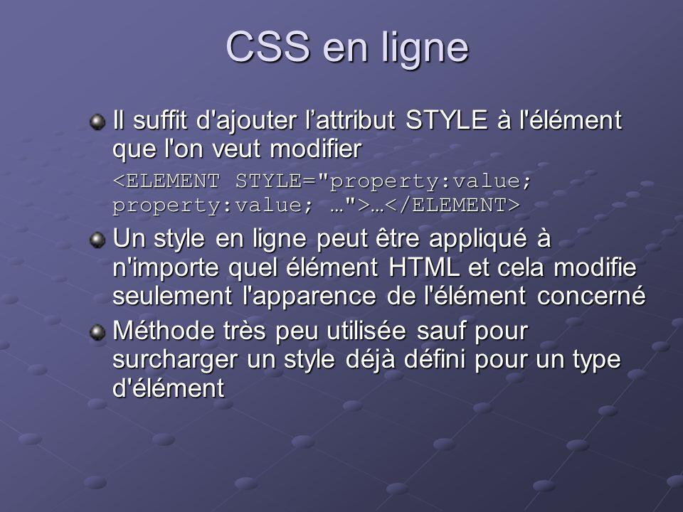 CSS en ligne Il suffit d'ajouter lattribut STYLE à l'élément que l'on veut modifier … … Un style en ligne peut être appliqué à n'importe quel élément