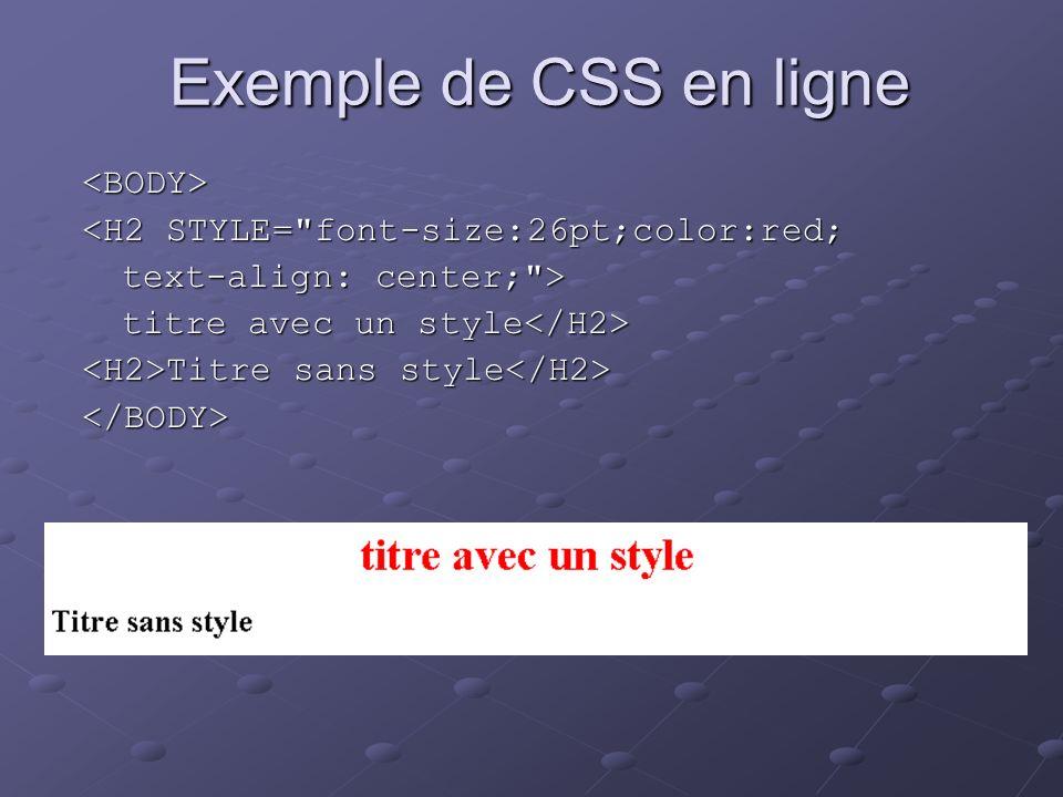Exemple de CSS en ligne <BODY> <H2 STYLE=
