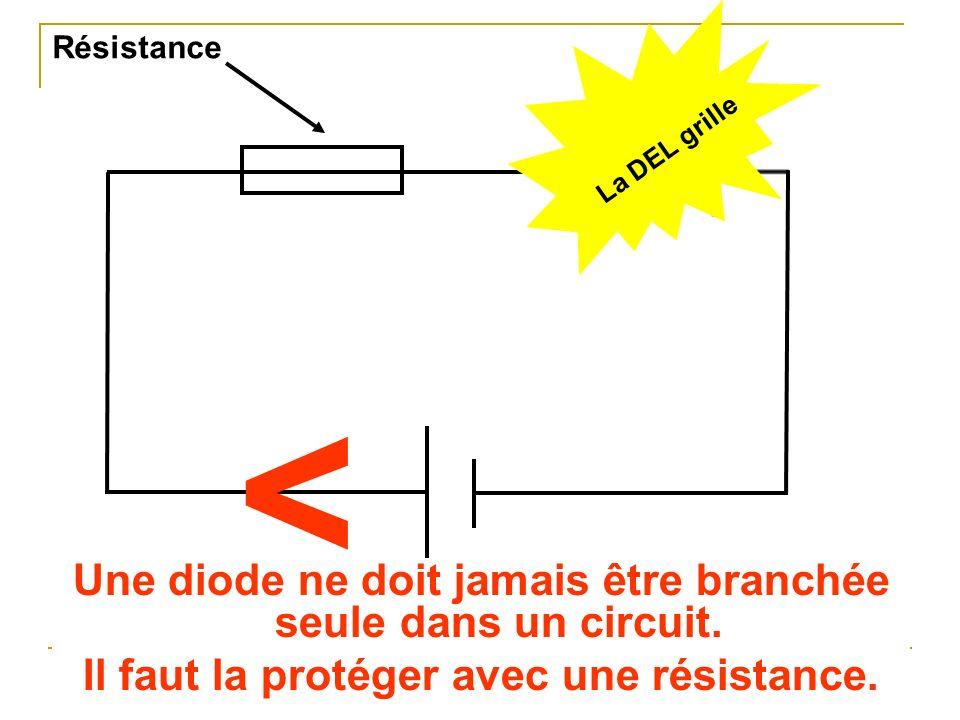 Une diode ne doit jamais être branchée seule dans un circuit. Il faut la protéger avec une résistance. < < La DEL grille Résistance