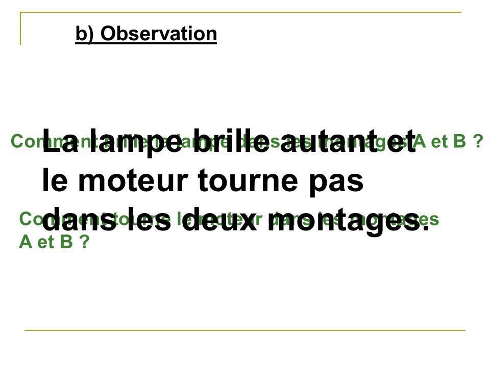 b) Observation Comment brille la lampe dans les montages A et B ? Comment tourne le moteur dans les montages A et B ? La lampe brille autant et le mot