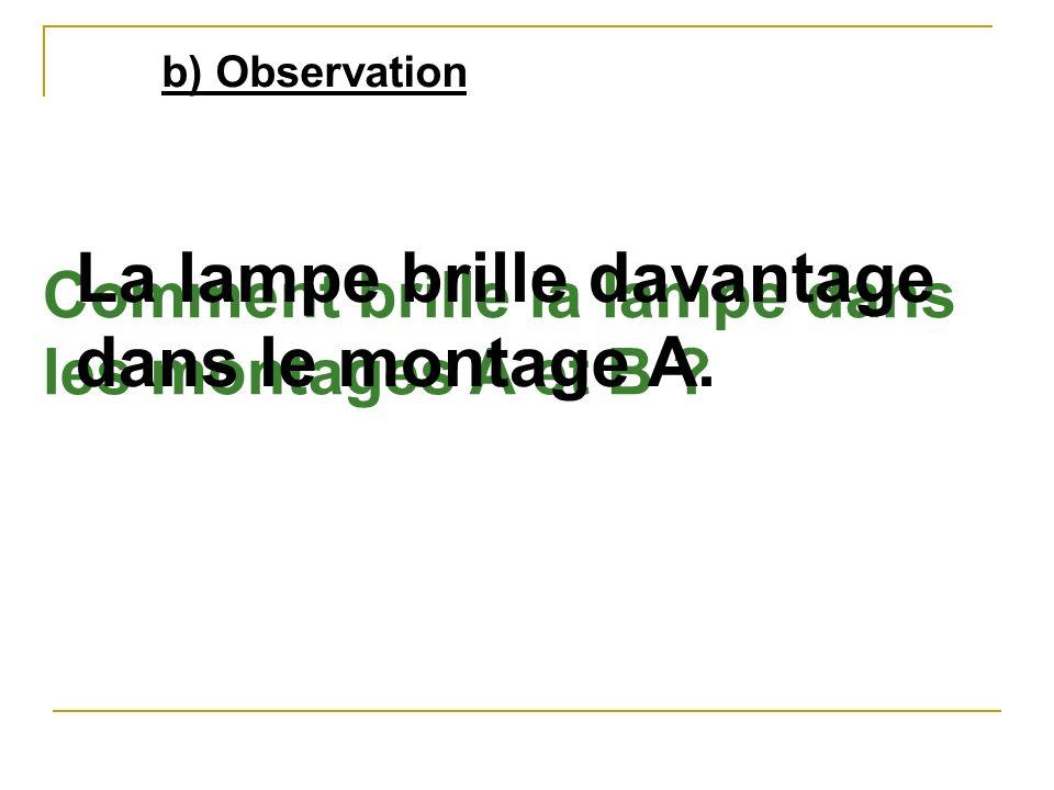 b) Observation Comment brille la lampe dans les montages A et B ? La lampe brille davantage dans le montage A.