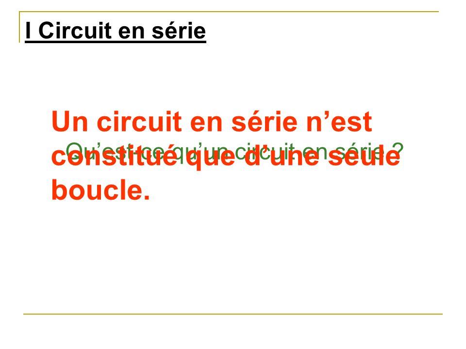 I Circuit en série Quest-ce quun circuit en série ? Un circuit en série nest constitué que dune seule boucle.