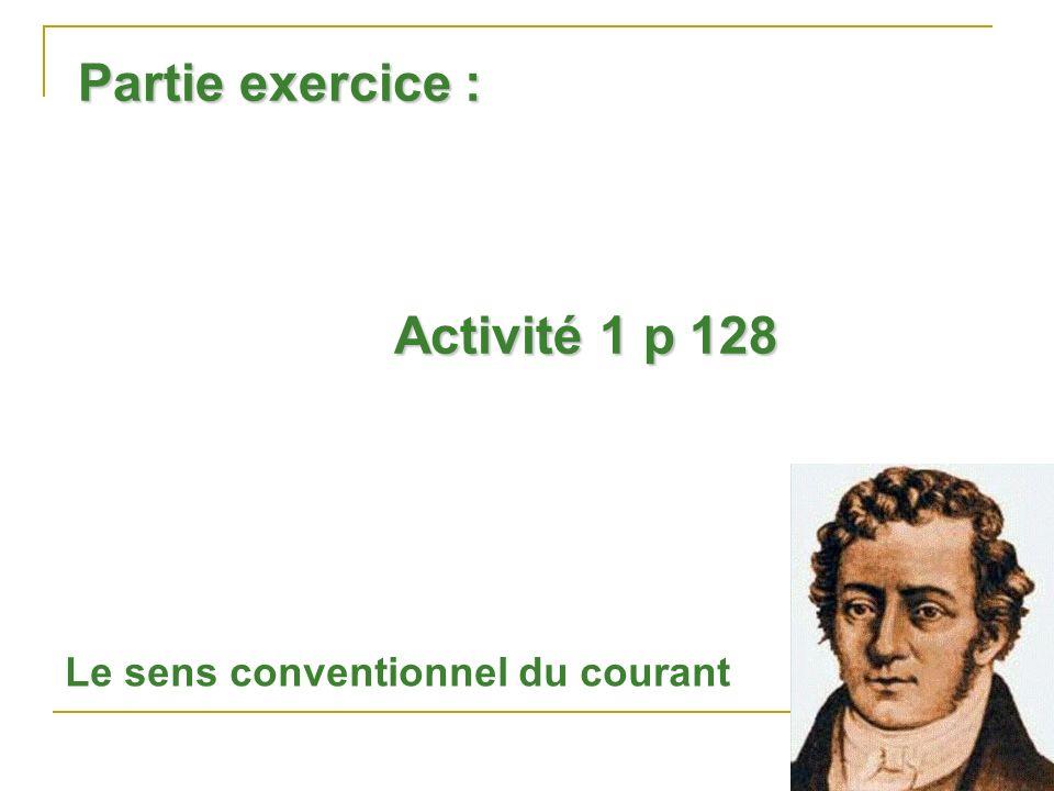 Partie exercice : Activité 1 p 128 Le sens conventionnel du courant