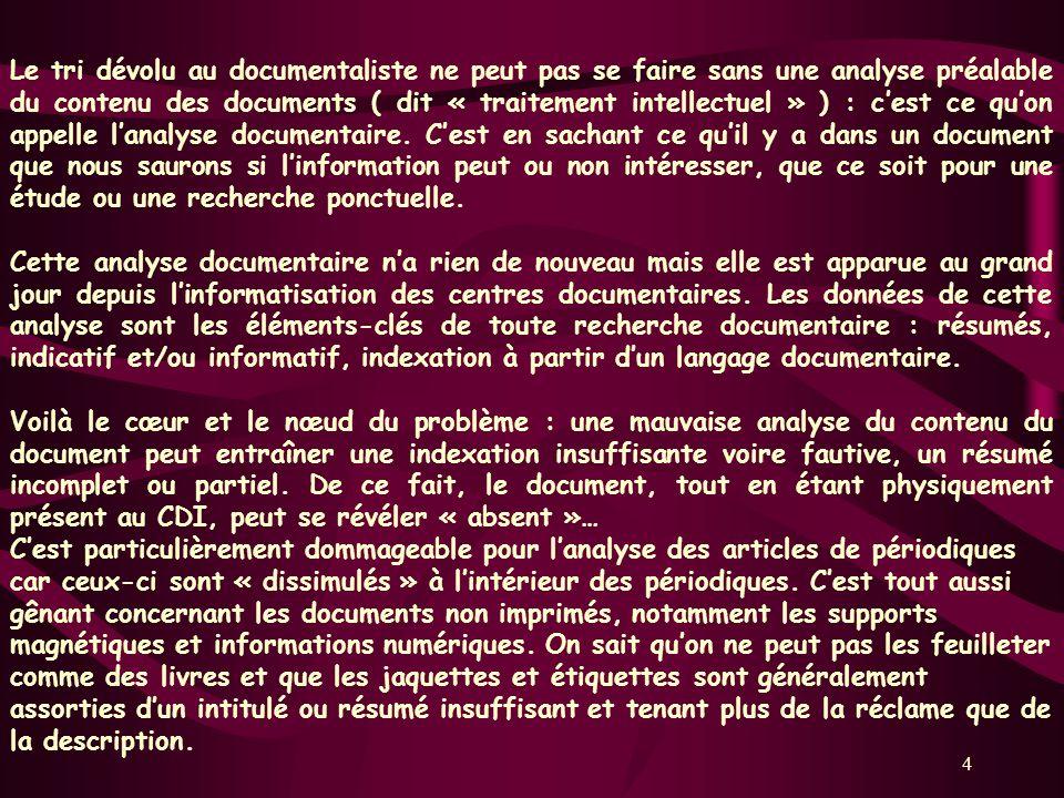 4 Le tri dévolu au documentaliste ne peut pas se faire sans une analyse préalable du contenu des documents ( dit « traitement intellectuel » ) : cest ce quon appelle lanalyse documentaire.