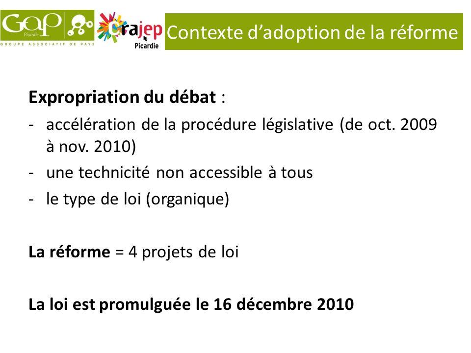 Contexte dadoption de la réforme Expropriation du débat : -accélération de la procédure législative (de oct. 2009 à nov. 2010) -une technicité non acc