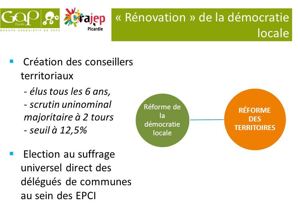 « Rénovation » de la démocratie locale RÉFORME DES TERRITOIRES Réforme de la démocratie locale Création des conseillers territoriaux - élus tous les 6