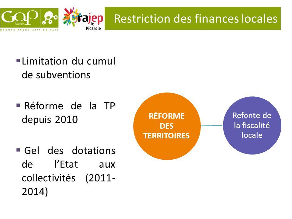 Restriction des finances locales RÉFORME DES TERRITOIRES Refonte de la fiscalité locale Limitation du cumul de subventions Réforme de la TP depuis 201