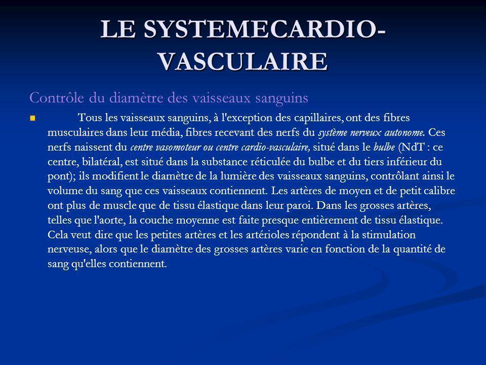 LE SYSTEMECARDIO- VASCULAIRE Contrôle du diamètre des vaisseaux sanguins Tous les vaisseaux sanguins, à l'exception des capillaires, ont des fibres mu