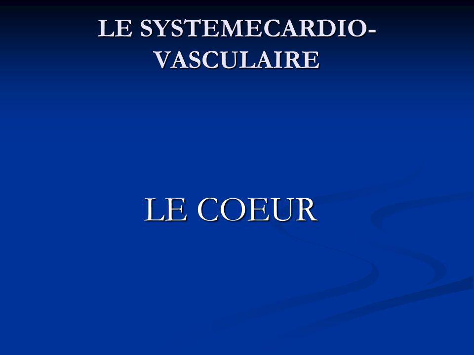 LE SYSTEMECARDIO- VASCULAIRE LE COEUR LE COEUR