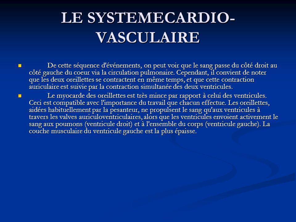 LE SYSTEMECARDIO- VASCULAIRE De cette séquence d'événements, on peut voir que le sang passe du côté droit au côté gauche du coeur via la circulation p