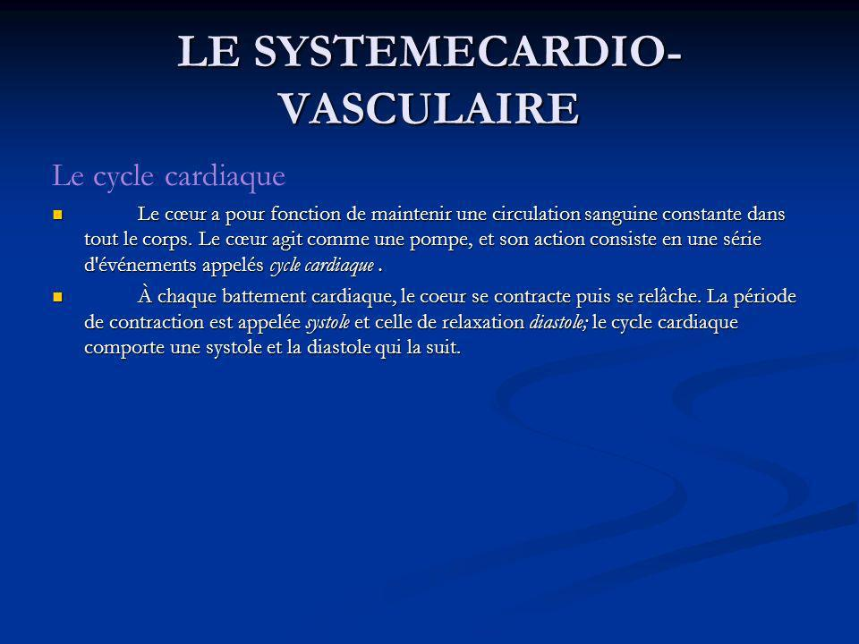 LE SYSTEMECARDIO- VASCULAIRE Le cycle cardiaque Le cœur a pour fonction de maintenir une circulation sanguine constante dans tout le corps. Le cœur ag