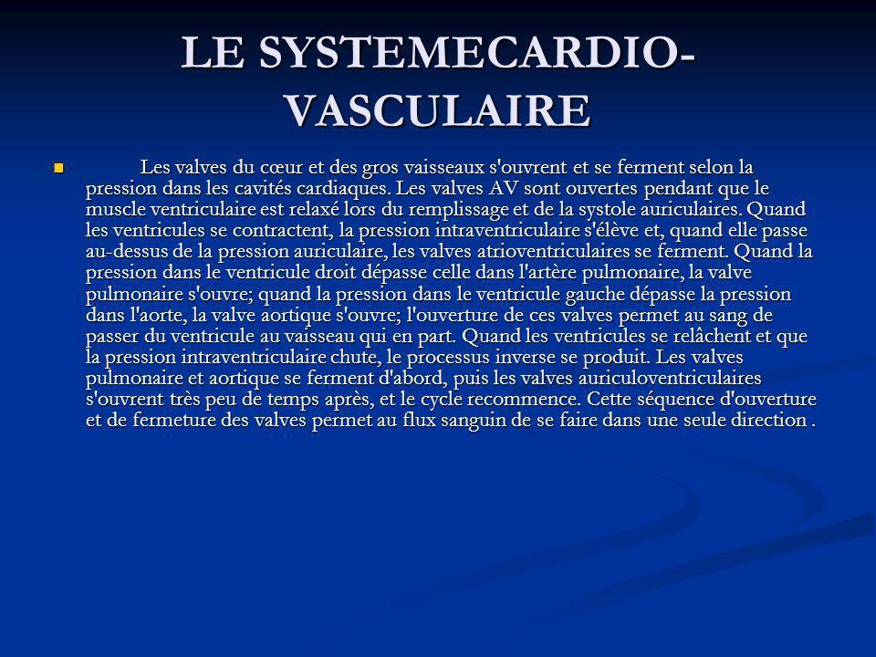 LE SYSTEMECARDIO- VASCULAIRE Les valves du cœur et des gros vaisseaux s'ouvrent et se ferment selon la pression dans les cavités cardiaques. Les valve