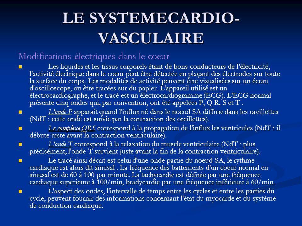 LE SYSTEMECARDIO- VASCULAIRE Modifications électriques dans le coeur Les liquides et les tissus corporels étant de bons conducteurs de lélectricité, l