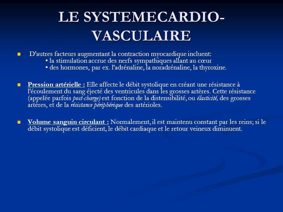LE SYSTEMECARDIO- VASCULAIRE D'autres facteurs augmentant la contraction myocardique incluent: la stimulation accrue des nerfs sympathiques allant au