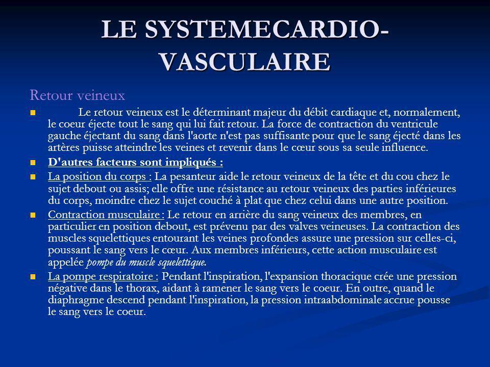 LE SYSTEMECARDIO- VASCULAIRE Retour veineux Le retour veineux est le déterminant majeur du débit cardiaque et, normalement, le coeur éjecte tout le sa