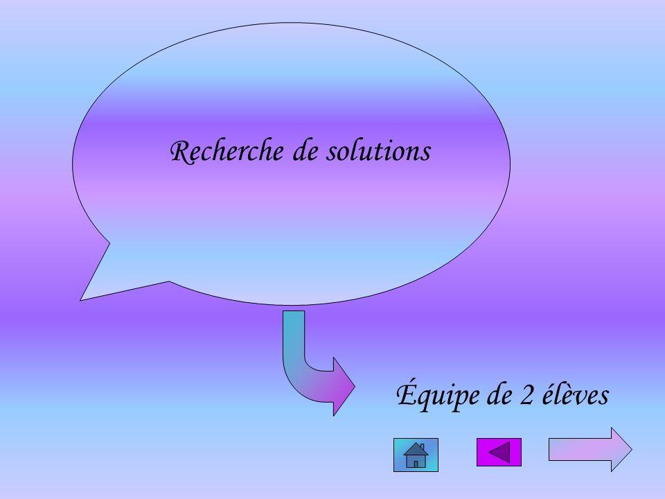 Recherche de solutions Équipe de 2 élèves