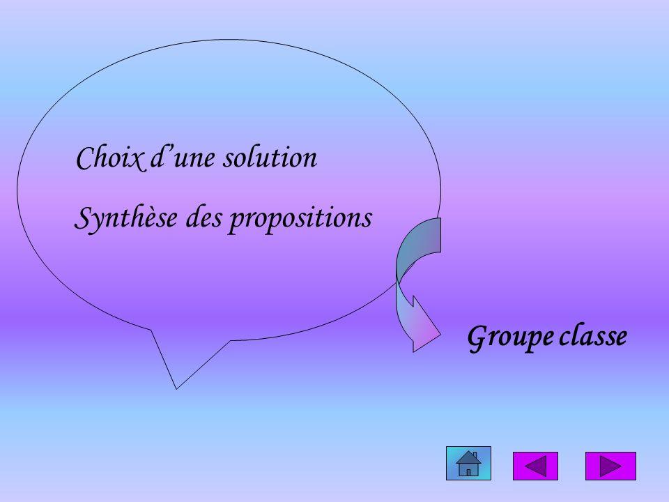 Choix dune solution Synthèse des propositions Groupe classe