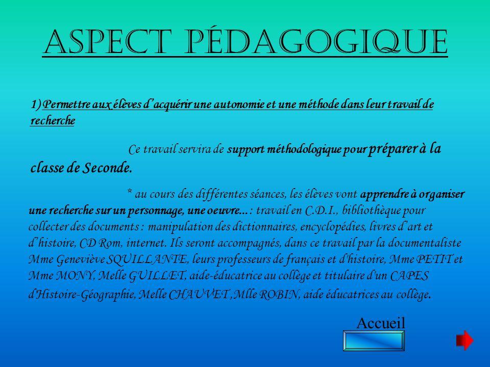 Aspect pédagogique 1) Permettre aux élèves dacquérir une autonomie et une méthode dans leur travail de recherche Ce travail servira de support méthodo