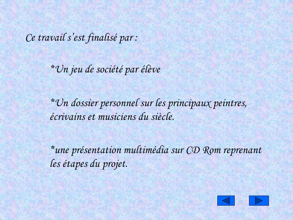 *une présentation multimédia sur CD Rom reprenant les étapes du projet. Ce travail sest finalisé par : *Un jeu de société par élève *Un dossier person