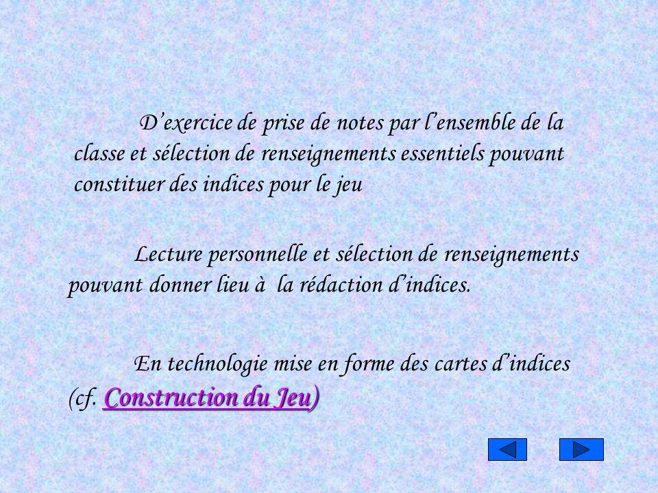 Construction du JeuConstruction du Jeu) En technologie mise en forme des cartes dindices (cf. Construction du Jeu) Construction du Jeu Lecture personn