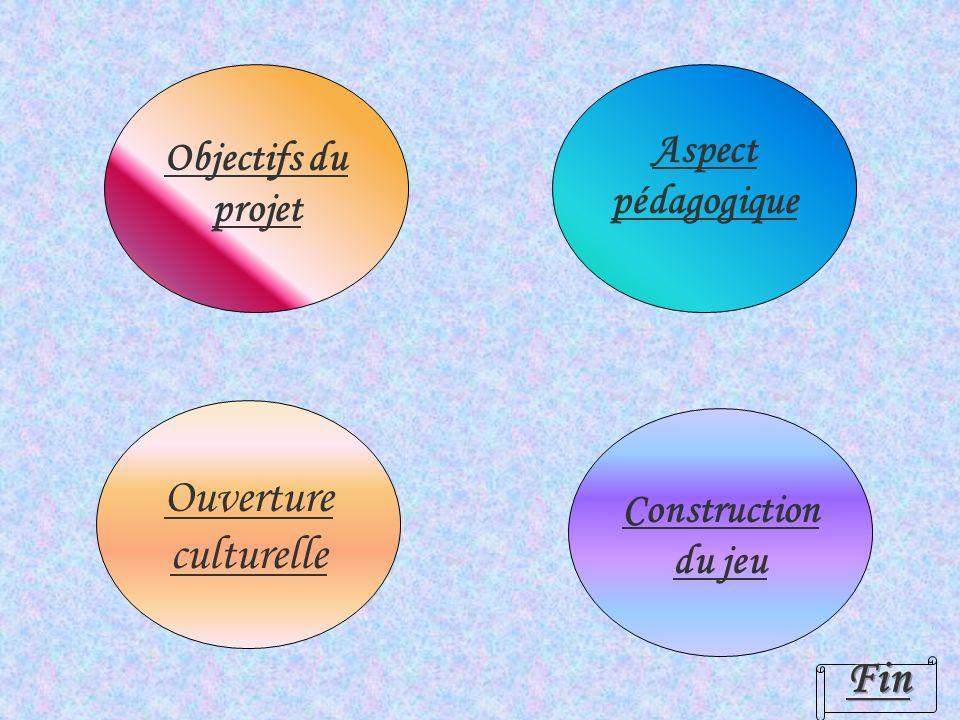Ouverture culturelle Aspect pédagogique Construction du jeu Objectifs du projet