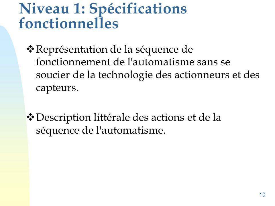 10 Niveau 1: Spécifications fonctionnelles Représentation de la séquence de fonctionnement de l'automatisme sans se soucier de la technologie des acti
