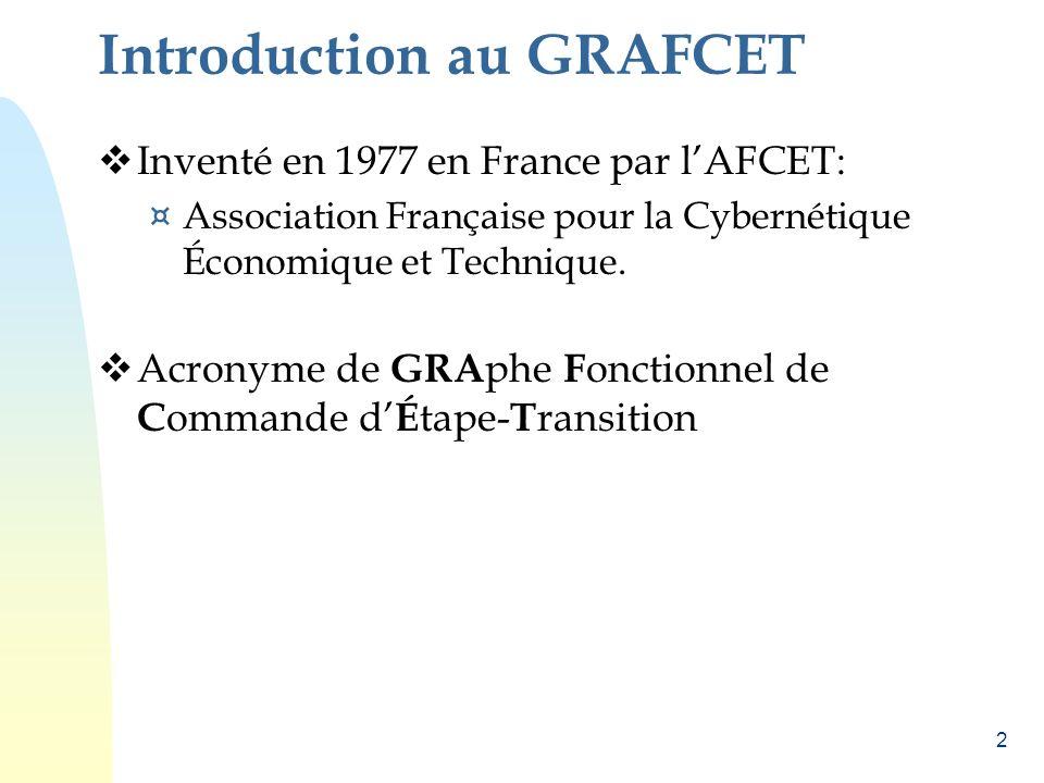 2 Introduction au GRAFCET Inventé en 1977 en France par lAFCET: ¤ Association Française pour la Cybernétique Économique et Technique. Acronyme de GRA