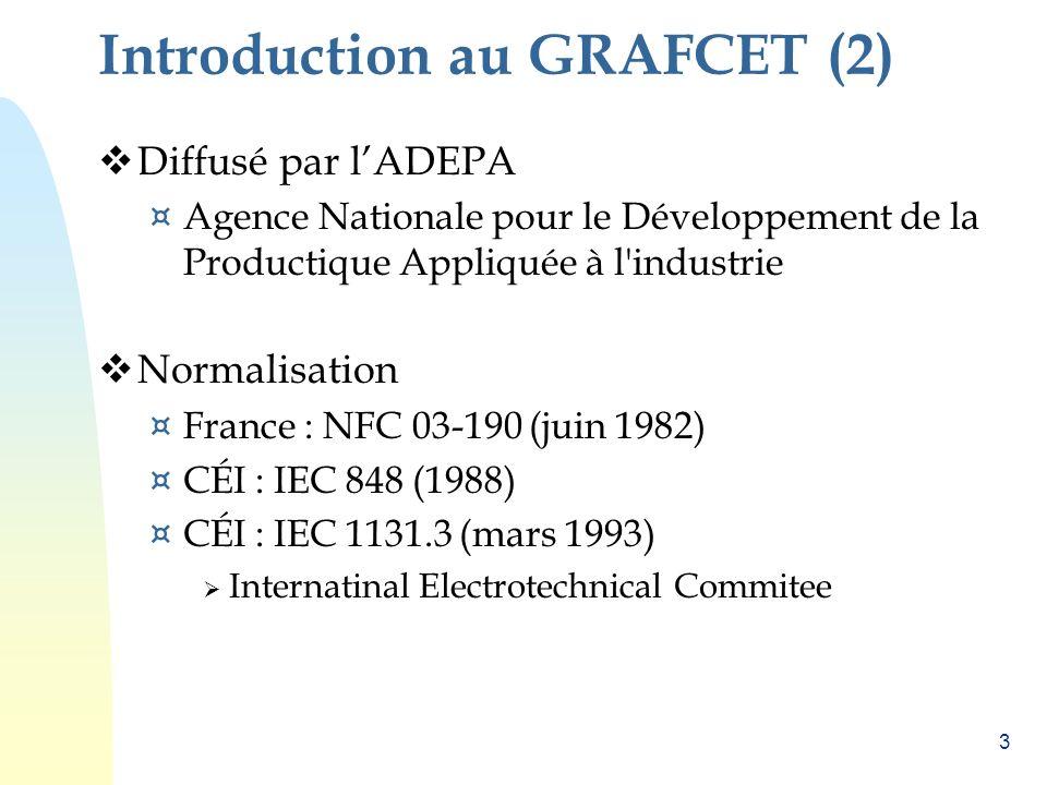 3 Introduction au GRAFCET (2) Diffusé par lADEPA ¤ Agence Nationale pour le Développement de la Productique Appliquée à l'industrie Normalisation ¤ Fr