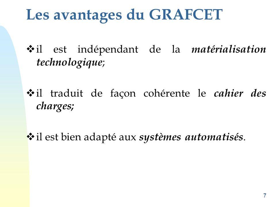 7 Les avantages du GRAFCET il est indépendant de la matérialisation technologique ; il traduit de façon cohérente le cahier des charges; il est bien a